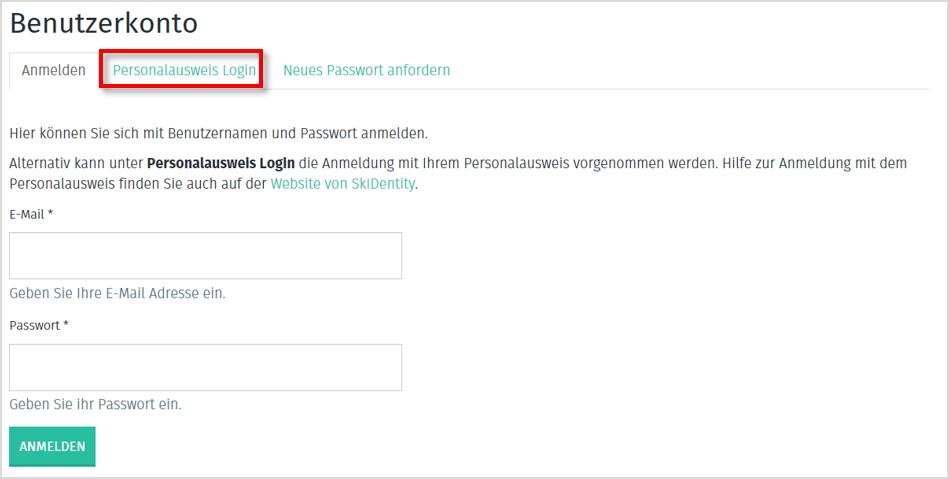 Ansicht der Loginmaske für Anbieter auf www.trusted-cloud.de